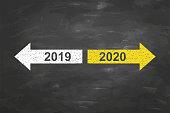 Old Year or New Year 2020 on Blackboard Background