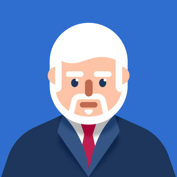 older businessman wearing a suit modern avatar - facial recognition stock illustrations