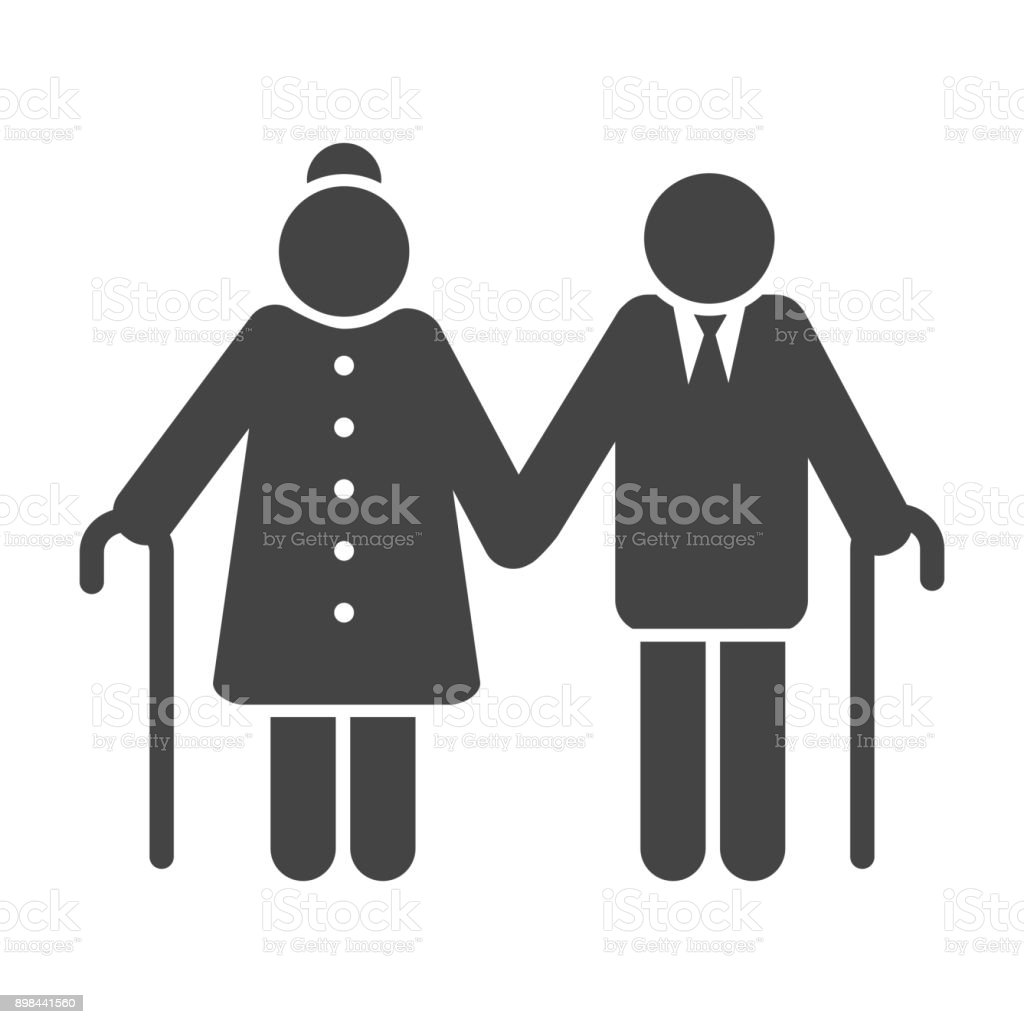 Older couple icon vector art illustration
