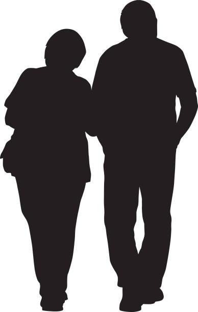 夫婦ウォーキング腕を組んで - 老夫婦点のイラスト素材/クリップアート素材/マンガ素材/アイコン素材