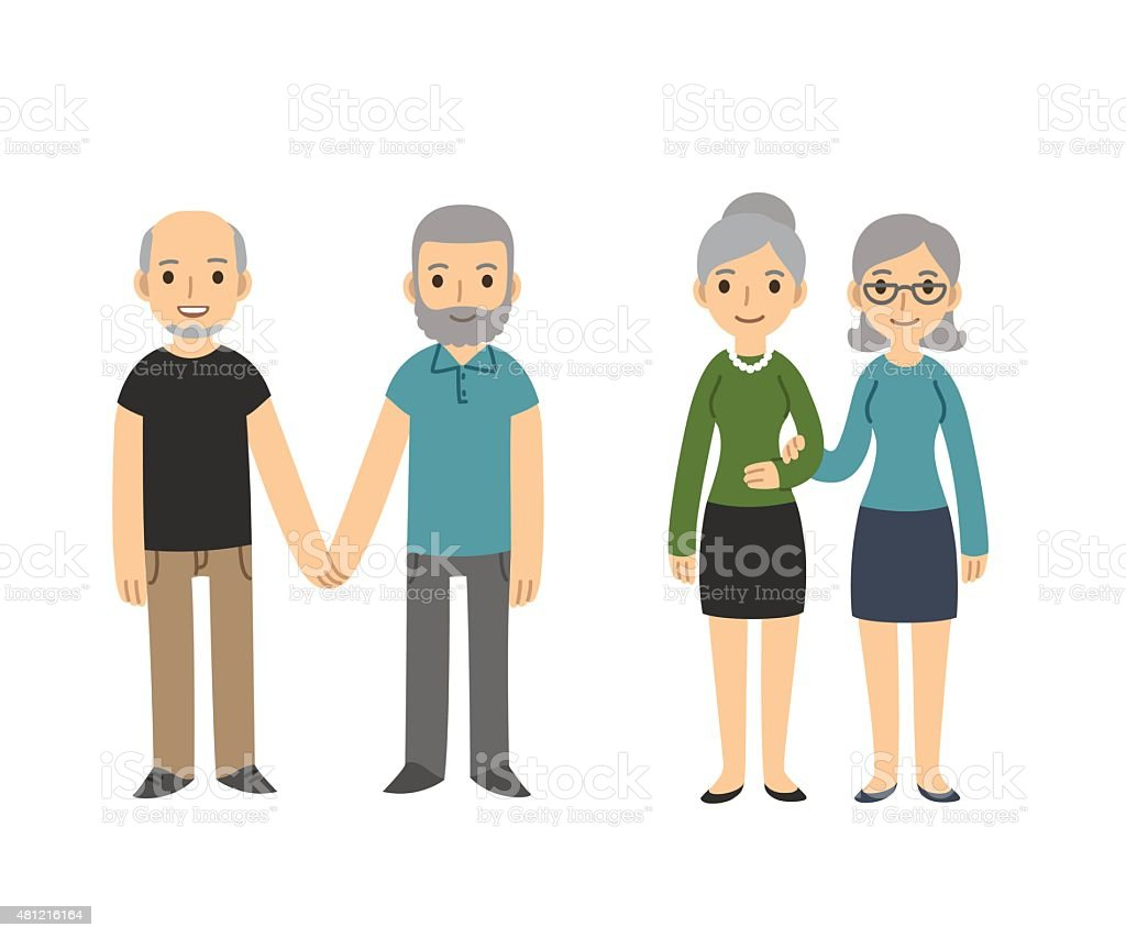 Older gay couples vector art illustration