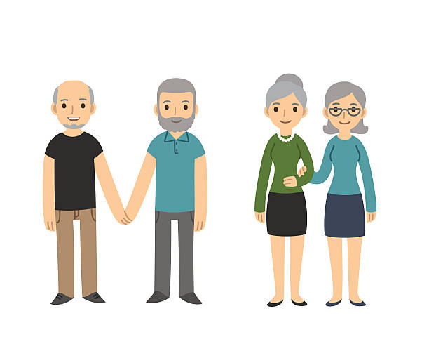 Older gay couples Two happy senior gay couples isolated on white background. Older men and women in casual clothes holding hands. Simple and cute cartoon style. same sex couples stock illustrations