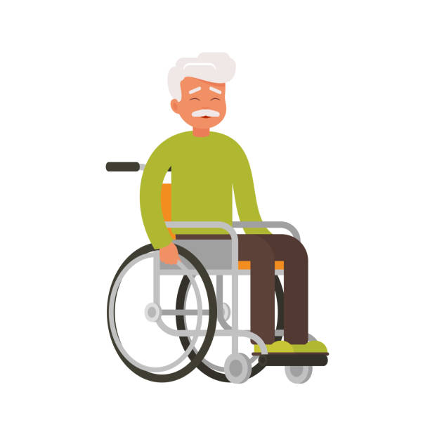 older happy person sits in a wheelchair on a white background. - old man smile cartoon stock illustrations, clip art, cartoons, & icons