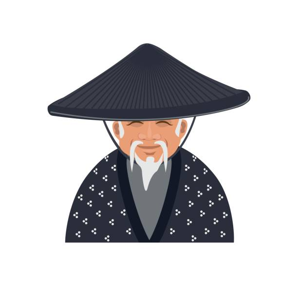 older japanese man - old man hair stock illustrations, clip art, cartoons, & icons