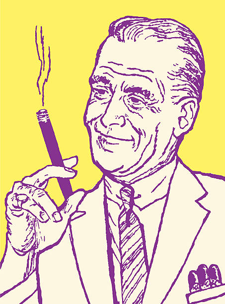 stockillustraties, clipart, cartoons en iconen met older man smoking - guy with cigar
