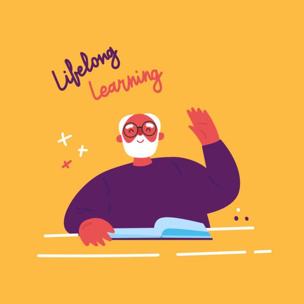 ilustraciones, imágenes clip art, dibujos animados e iconos de stock de un hombre mayor estudiando con un libro. vector - abuelo