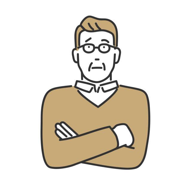 年配の男性は何かを心配する - 日本人点のイラスト素材/クリップアート素材/マンガ素材/アイコン素材