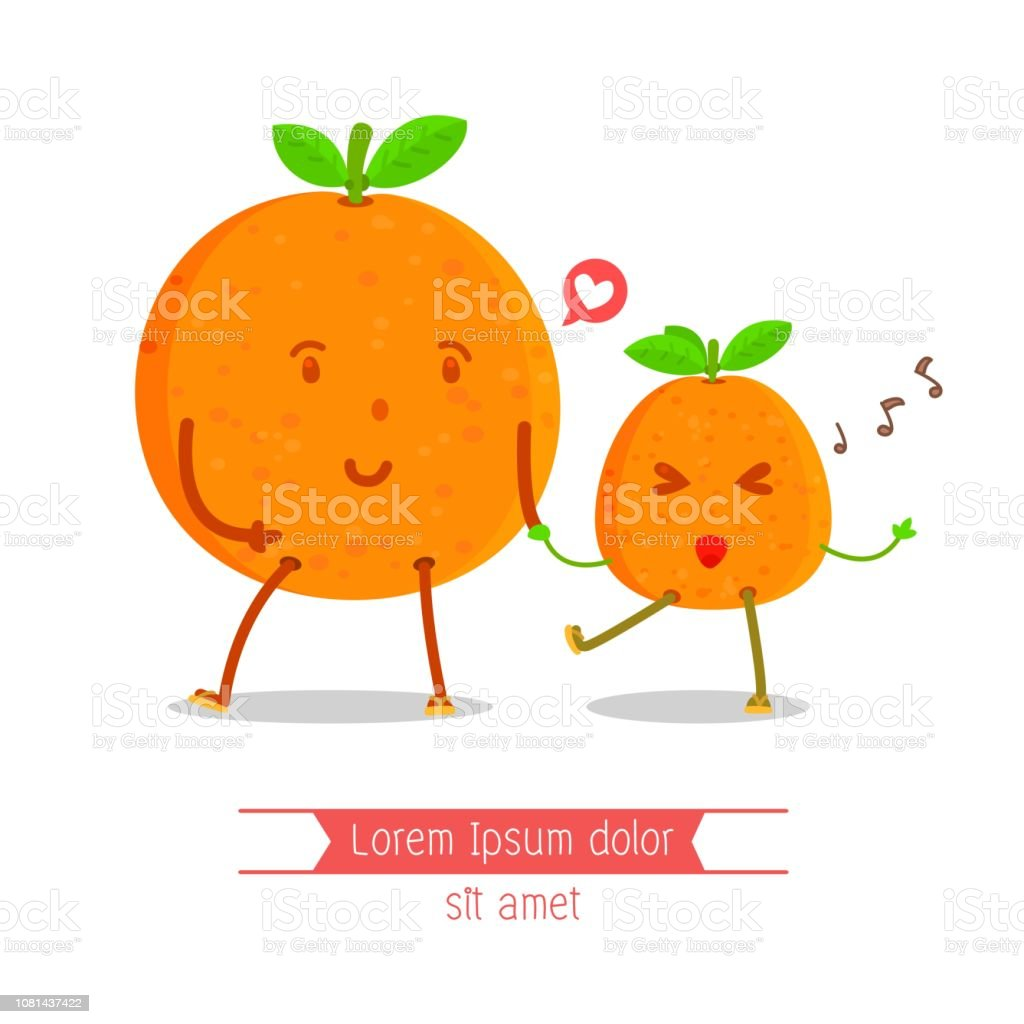 Older oranges holding hands younger oranges character, Happy, Sing a song, Cheerful orange character