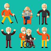 Older people. Elderly activity, elderly care, comfort and communication in