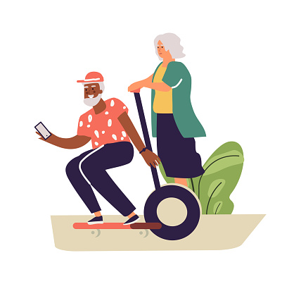 Older people lead active lifestyle. Old woman on segway and senior man on skateboard. Happy retired people. Leisure pastime or moving around city. Vector elderly couple illustration