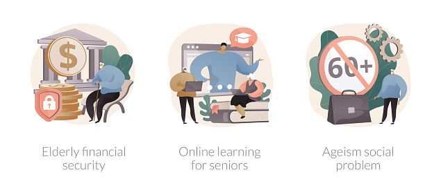 Older people lifestyle abstract concept vector illustration set. Elderly financial security, online learning for seniors, ageism social problem, budget planning, free online program abstract metaphor.