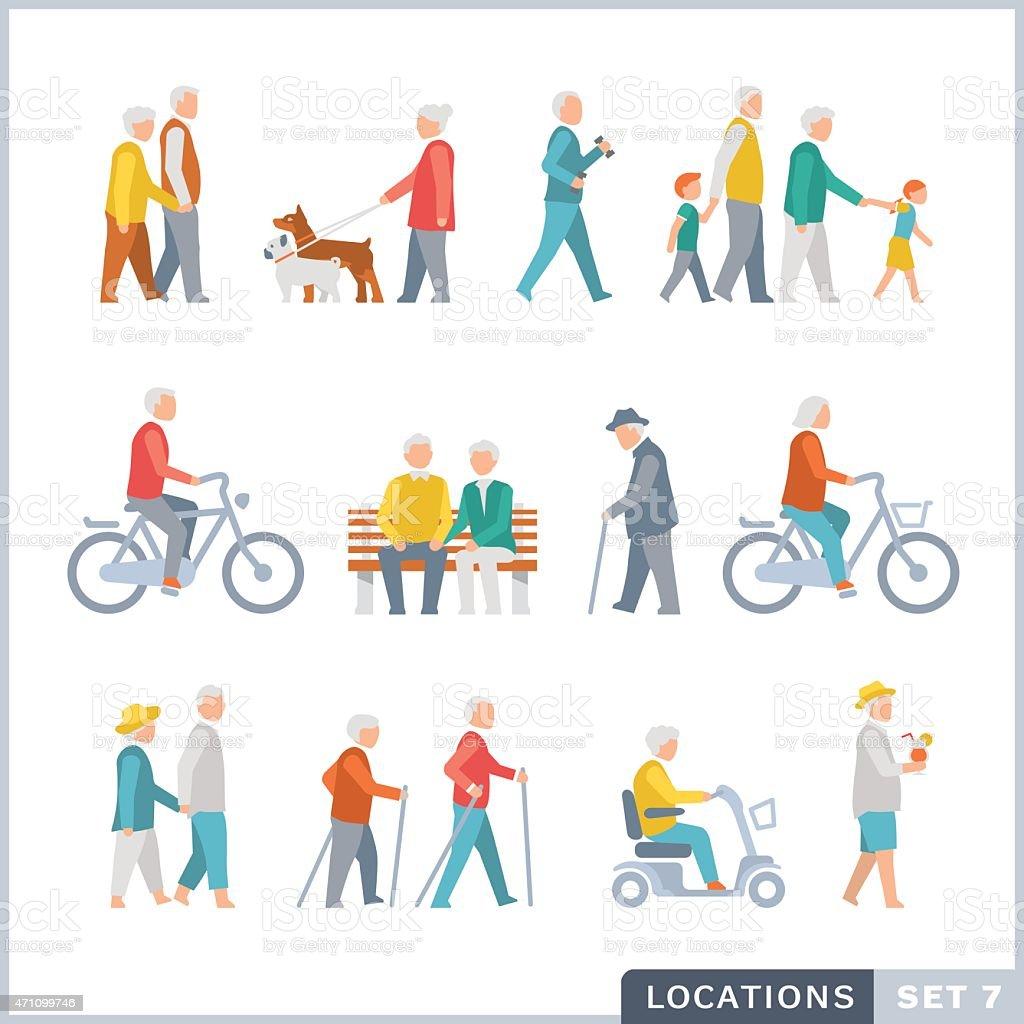 Personas mayores en la calle. Vecinos. - ilustración de arte vectorial
