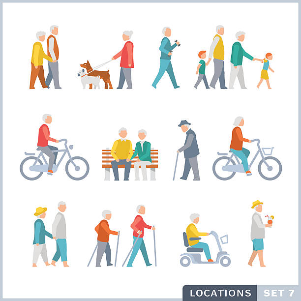 older people on the street. neighbors. - old man on bike stock illustrations, clip art, cartoons, & icons