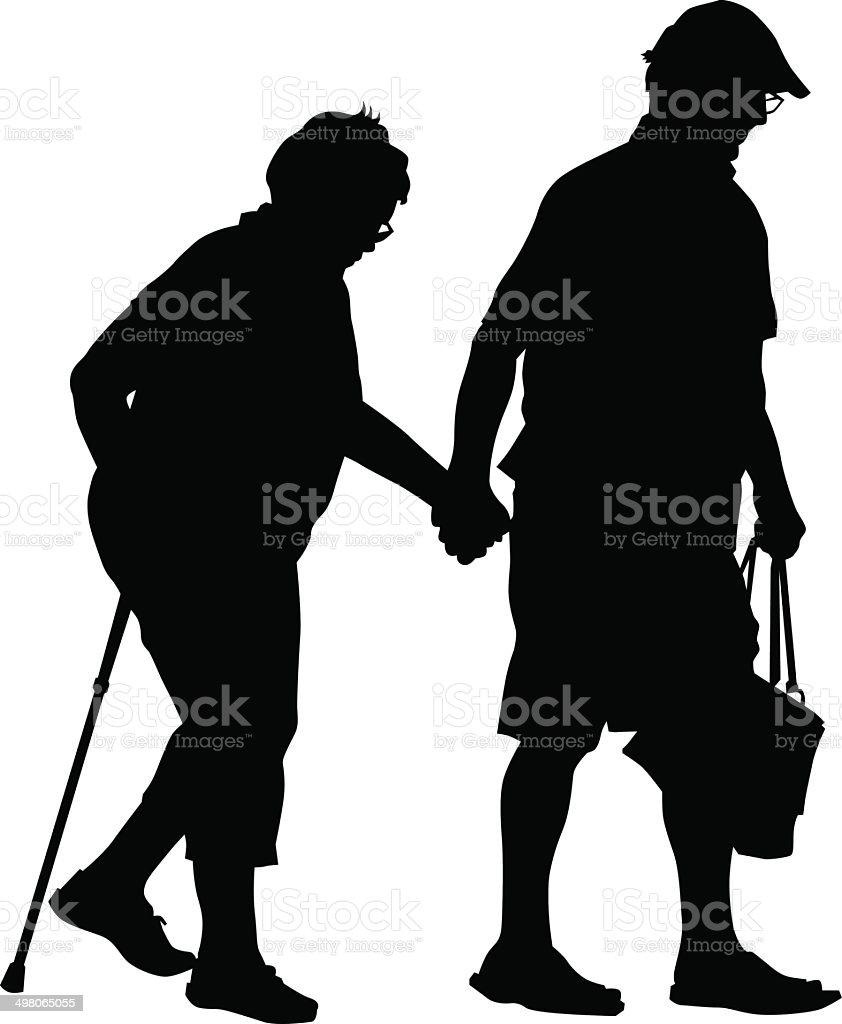 Older people vector art illustration