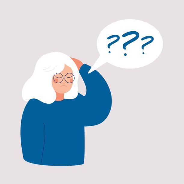 ilustrações de stock, clip art, desenhos animados e ícones de older woman has alzheimer's disease and a question above her in the speech bubble. - alzheimer