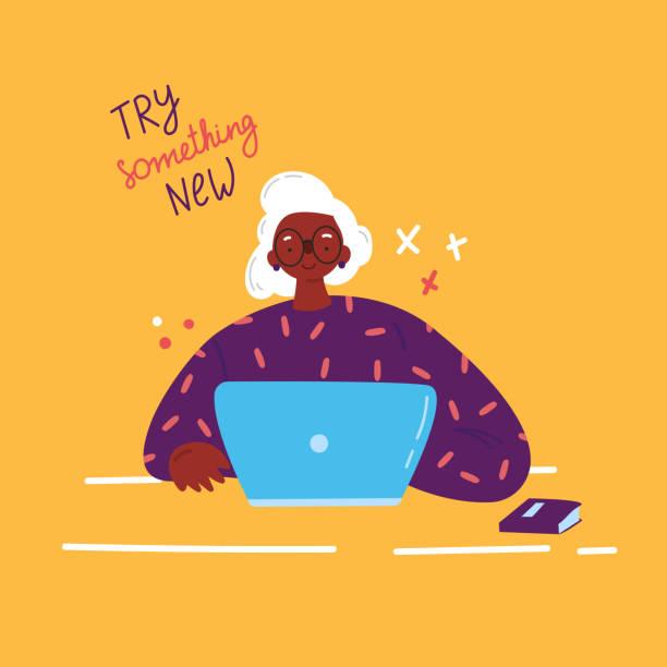 ilustrações de stock, clip art, desenhos animados e ícones de older woman studying with a laptop.vector - senior woman
