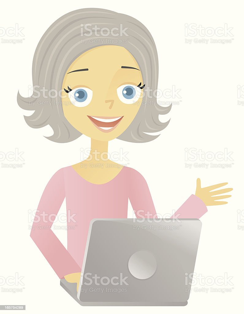 Older Woman with Laptop vector art illustration