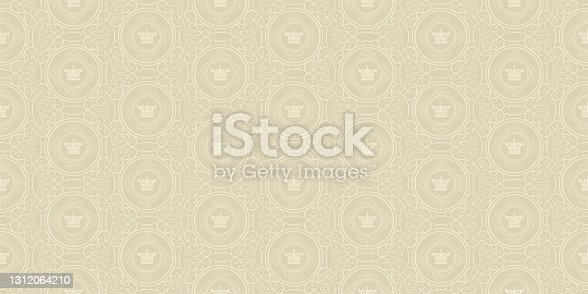 istock Old-fashioned background pattern with royal ornament on beige background, vintage style. Seamless pattern, texture for your design. Vector graphic 1312064210