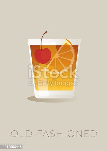 istock Old-fashioned cocktail with a orange slices and a cherry. 1212990448