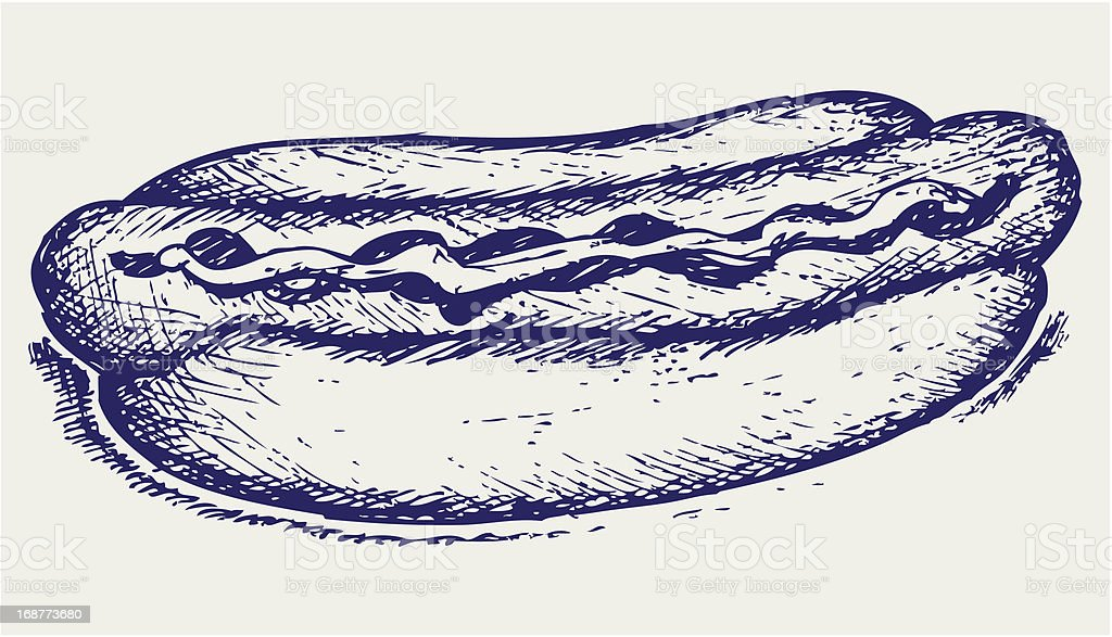 Old-fashioned hot dog royalty-free stock vector art