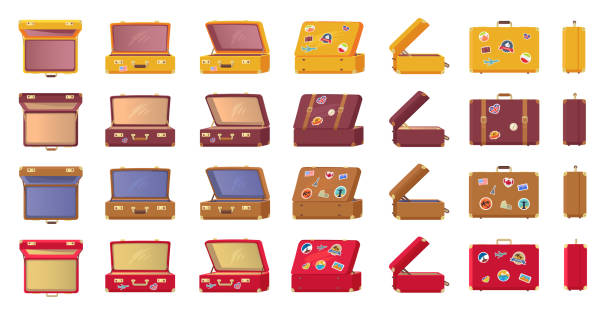 Old-fashioned Vintage Suitcases with Stickers Old-fashioned vintage suitcases with travel-themed stickers from all sides view isolated vector illustrations set on white background. fully unbuttoned stock illustrations