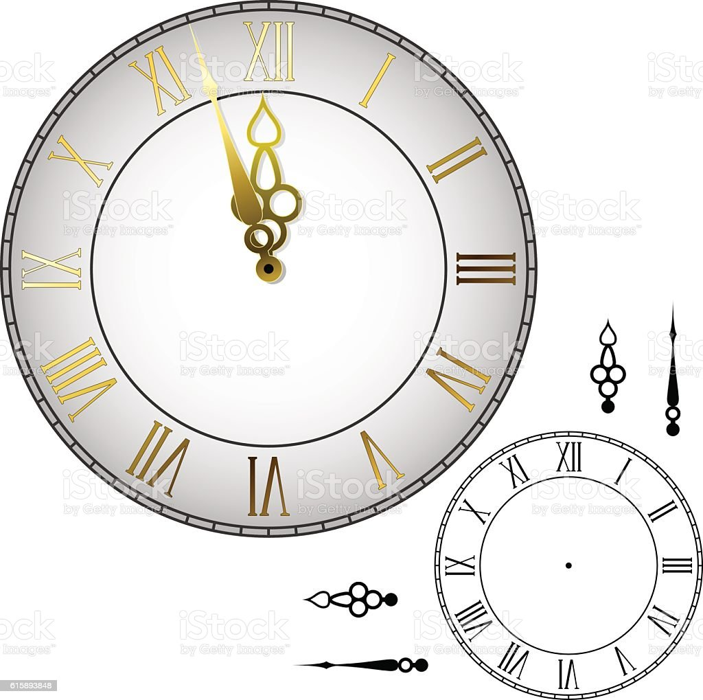 grandfather clock midnight clipart. oldfashioned wall clock vector art illustration grandfather midnight clipart