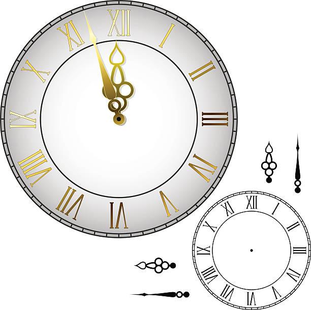 Old-fashioned wall clock vector art illustration