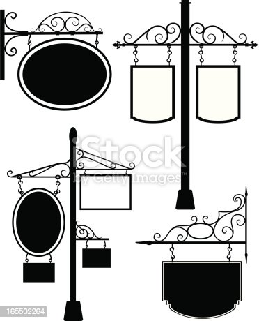 Black and white line art of signs from an old village. Easy to edit flat color, conveniently grouped with file editing in mind.