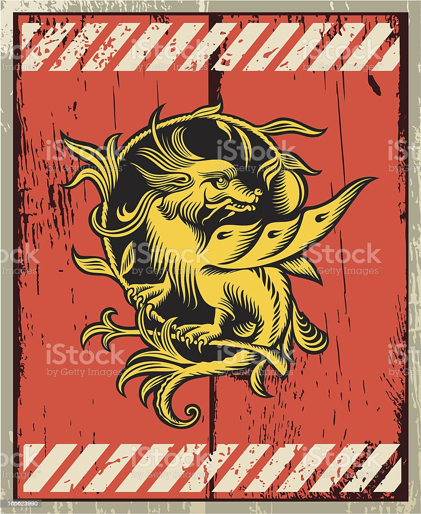 Old-fashioned wood plate with dragon. royalty-free oldfashioned wood plate with dragon stock vector art & more images of animal