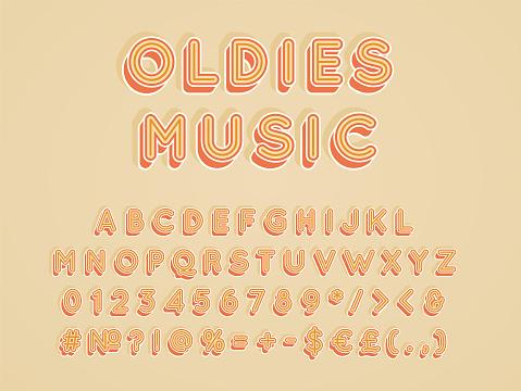 Oldies music vintage 3d vector alphabet set