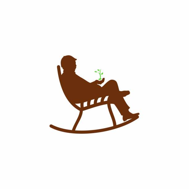 oldman in chair - old man sitting chair drawing stock illustrations, clip art, cartoons, & icons