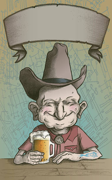 ol'drinky and his favorite cowboy hat - old man funny face drawing stock illustrations, clip art, cartoons, & icons