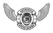 Oldschool  emblem with wings, skull in racing helmet and round heraldic ribbon.