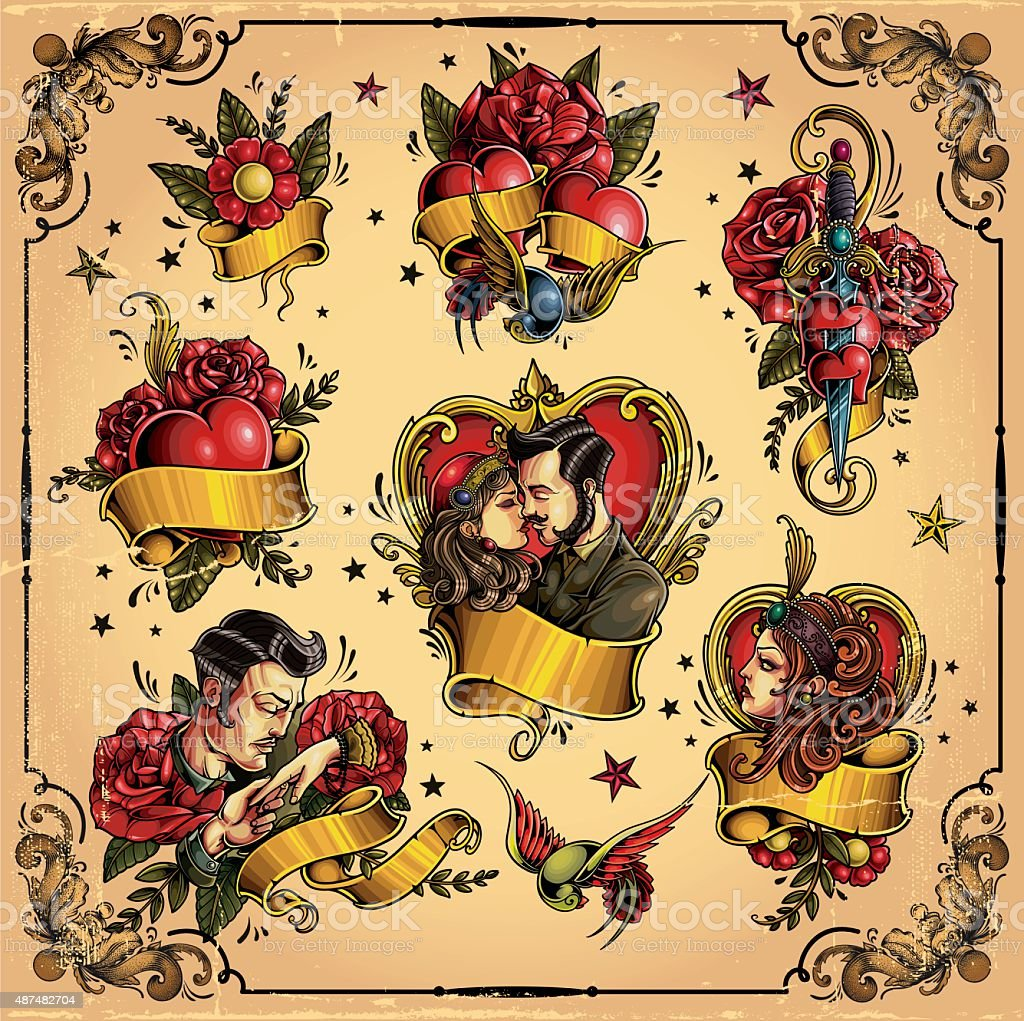 Old-school love tattoo royalty-free oldschool love tattoo stock illustration - download image now