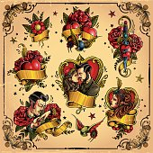 Love theme tattoo set, eps10