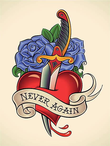 illustrations, cliparts, dessins animés et icônes de old-school tatouage dague au cœur de - tatouages cœurs