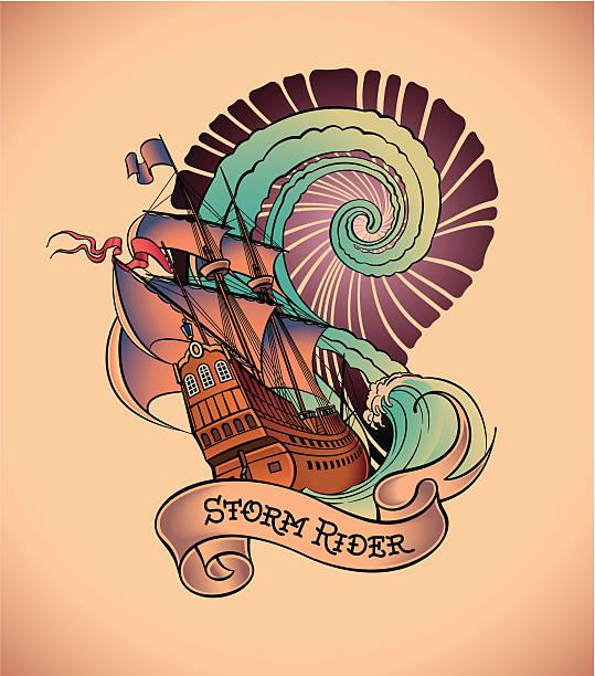 illustrations, cliparts, dessins animés et icônes de old-school tatouage-storm rider - tatouages marins