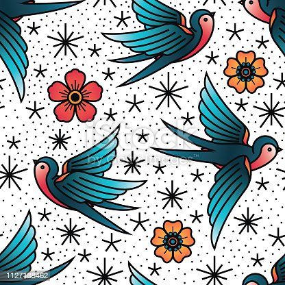 Oldschool Traditional Tattoo Vector illustration. Traditional stylized tattoo seamless pattern with swallows and cinquefoils.