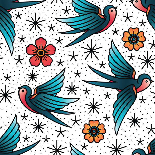 ilustrações de stock, clip art, desenhos animados e ícones de oldschool traditional tattoo vector birds and flowers pattern - tatuagem