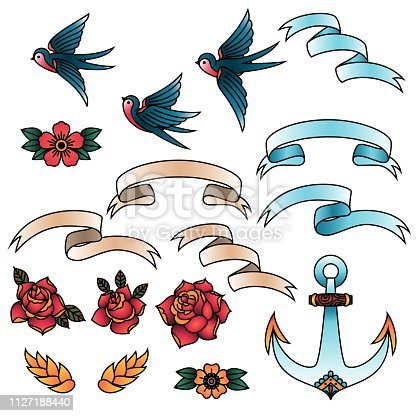 Oldschool Traditional Tattoo Vector illustration. Traditional stylized tattoo swallows, roses, ribbons, anchor and flowers
