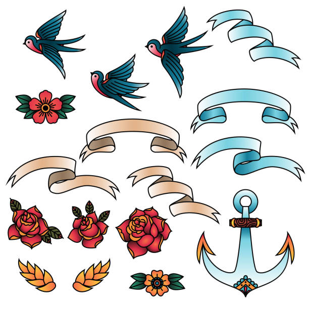 stockillustraties, clipart, cartoons en iconen met oldschool traditionele tattoo vectorelementen. vogels, bloemen, linten. - traditie
