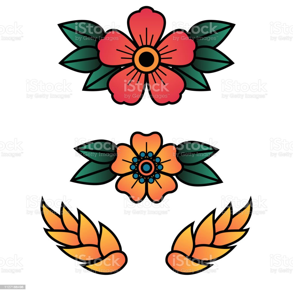 Traditional Flower Tattoos: Oldschool Traditional Tattoo Vector Flowers With 5 Petals
