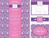 Damask Design Invitation Set, two tone purple and white monogrammed wedding invitation. Paisley print with initial heading. Includes template for invitation, response card, and thank you cards. Beautiful feminine wedding set, pink and purple motif.