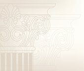 Old-style greece column background. vector illustration
