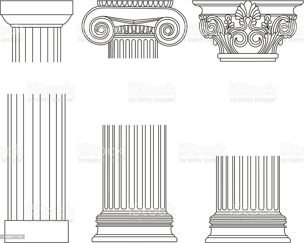 ПечаOld-style greece column background. vector illustrationть vector art illustration