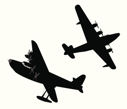 Old-time Airplanes Vector Silhouette