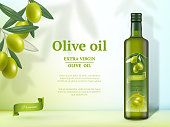 Olive ads. Oil for cooking food natural healthy gourmet product vector promotional banner with glass bottles. Olive oil ad, product advertising natural illustration
