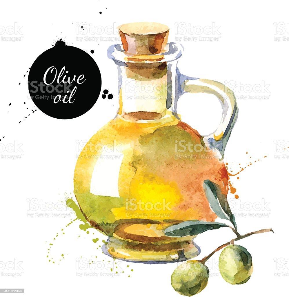 Garrafa de azeite, ilustração vetorial. Mão desenhada Pintura em Aquarela - ilustração de arte vetorial