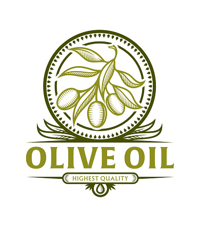 Olive branch icon for olive oil label