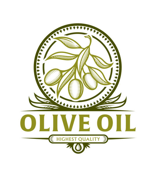 Olive branch icon for olive oil label Stylized olive branch icon in frame with leaves for olive oil label, vector emblem with replaceable text part olives stock illustrations